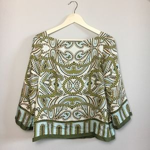 J. Crew Silk Patterned Long Sleeve Top